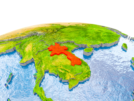 Laos highlighted in red on globe with realistic land surface, visible country borders and water in place of oceans. 3D illustration.
