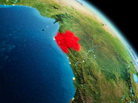 Satellite morning view of Gabon highlighted in red on planet Earth. 3D illustration. Фото со стока