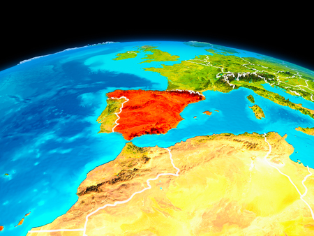 Satellite view of Spain highlighted in red on planet Earth with borderlines. 3D illustration. Banco de Imagens