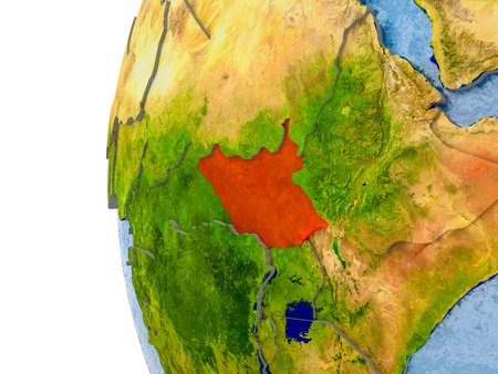 South Sudan in red on globe with real land surface, visible country borders and water in place of ocean. 3D illustration.