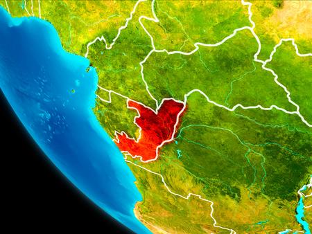 Kongo hob in Rot auf Planetenerde mit sichtbaren Grenzen hervor . 3D-Darstellung Standard-Bild - 99604891
