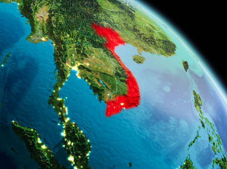 Satellite morning view of Vietnam highlighted in red on planet Earth. 3D illustration. Banco de Imagens