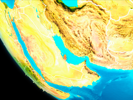Qatar highlighted in red on planet Earth with visible borders. 3D illustration.