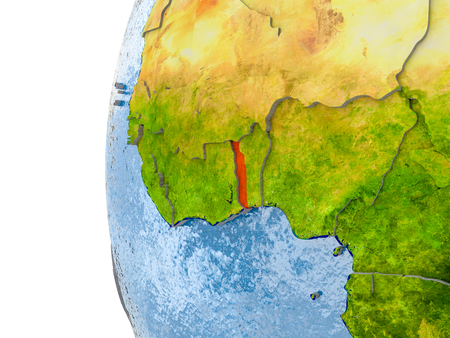 Togo in red on globe with real land surface, visible country borders and water in place of ocean. 3D illustration. Stock Photo