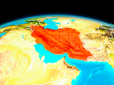 Satellite view of Iran highlighted in red on planet Earth with borderlines. 3D illustration.
