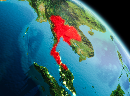 Satellite morning view of Thailand highlighted in red on planet Earth. 3D illustration. Banco de Imagens