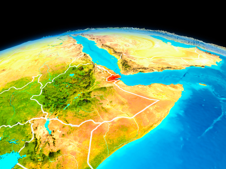 Satellite view of Djibouti highlighted in red on planet Earth with borderlines. 3D illustration.