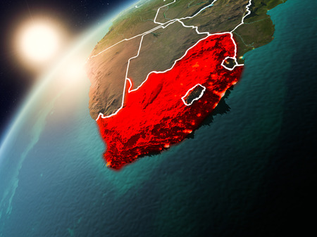 South Africa during sunset highlighted in red on planet Earth with visible country borders. 3D illustration. . Stock Photo