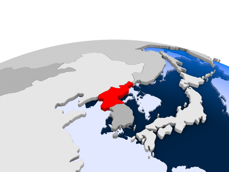 Taiwan highlighted in red on political globe with transparent oceans. 3D illustration.