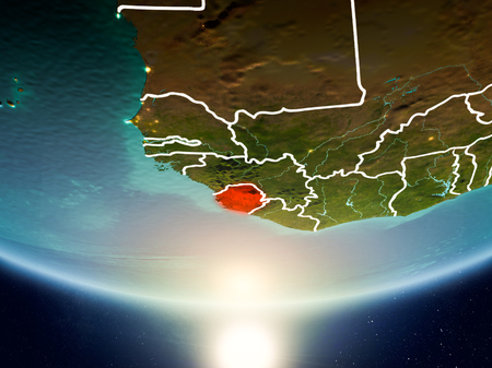 Sierra Leone from orbit of planet Earth in sunrise with highly detailed surface textures and visible country borders. 3D illustration.