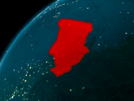 Night map of Chad as seen from space on planet Earth. 3D illustration.