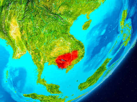 Map of Cambodia as seen from space on planet Earth. 3D illustration.