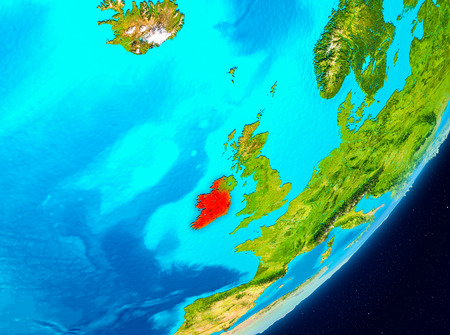 Map of Ireland as seen from space on planet Earth. 3D illustration. Imagens