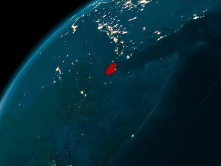 Night map of Djibouti as seen from space on planet Earth. 3D illustration.