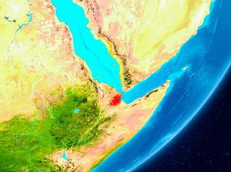 Map of Djibouti as seen from space on planet Earth. 3D illustration.