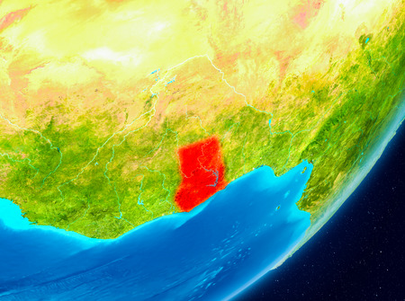 Map of Ghana as seen from space on planet Earth. 3D illustration.