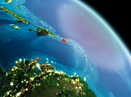 Satellite morning view of Puerto Rico highlighted in red on planet Earth. 3D illustration. 版權商用圖片