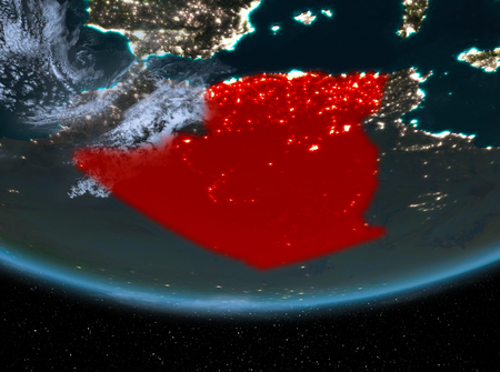 Algeria at night highlighted in red on planet Earth with clouds. 3D illustration.