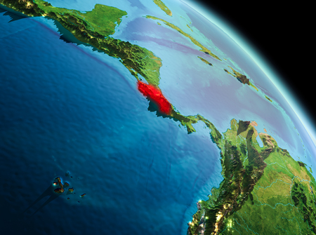 Satellite morning view of Costa Rica highlighted in red on planet Earth. 3D illustration.