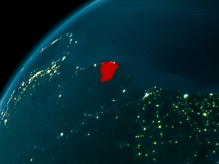 Night map of French Guiana as seen from space on planet Earth. 3D illustration. Stock Photo