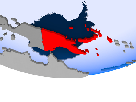 Papua New Guinea on 3D model of political globe with transparent oceans. 3D illustration.