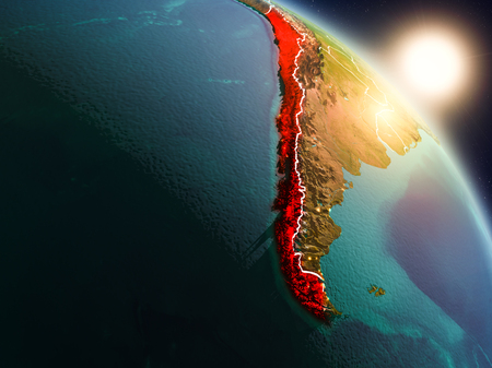 Sunset above Chile from space on planet Earth with visible country borders. 3D illustration. 免版税图像
