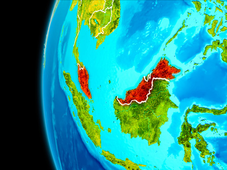 Malaysia as seen from Earth's orbit on planet Earth highlighted in red with visible borders. 3D illustration.