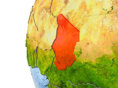 Chad in red on globe with real land surface, visible country borders and water in place of ocean. 3D illustration. Stock Photo