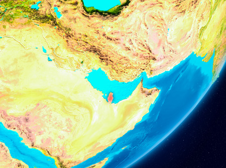 Map of Qatar as seen from space on planet Earth. 3D illustration. Stock Photo