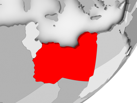 Illustration of Libya highlighted in red on grey globe. 3D illustration.
