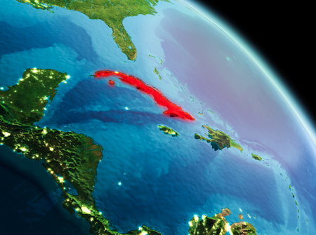 Satellite morning view of Cuba highlighted in red on planet Earth. 3D illustration.