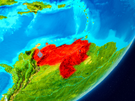 Map of Venezuela as seen from space on planet Earth. 3D illustration. Stock Photo