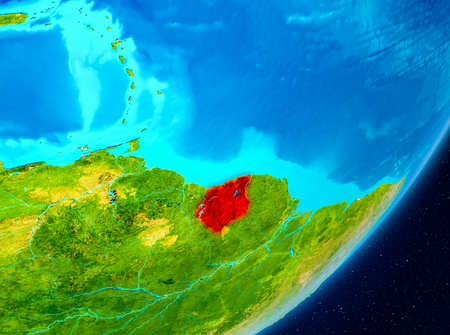 Map of Suriname as seen from space on planet Earth. 3D illustration.