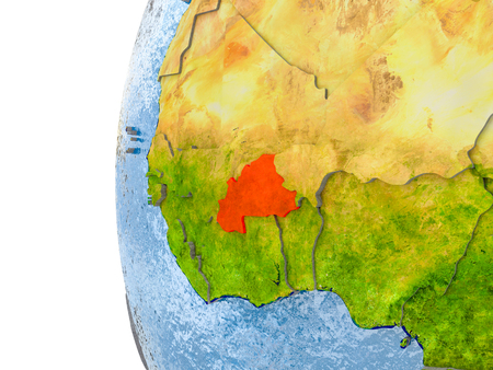 Burkina Faso in red on globe with real land surface, visible country borders and water in place of ocean. 3D illustration.
