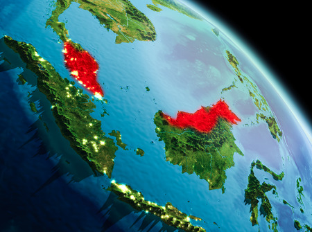 Satellite morning view of Malaysia highlighted in red on planet Earth. 3D illustration.