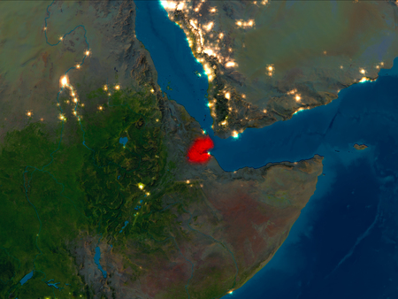 Satellite night view of Djibouti highlighted in red on planet Earth. 3D illustration.