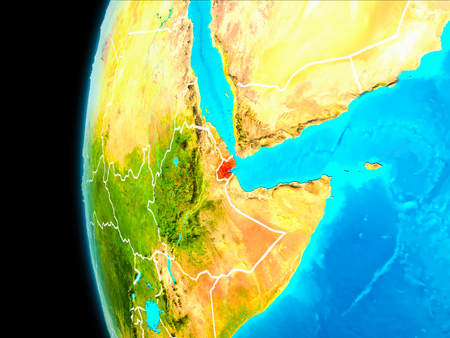 Djibouti as seen from Earth's orbit on planet Earth highlighted in red with visible borders. 3D illustration.