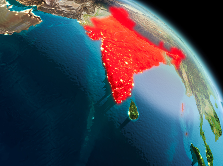 Satellite morning view of India highlighted in red on planet Earth. 3D illustration.