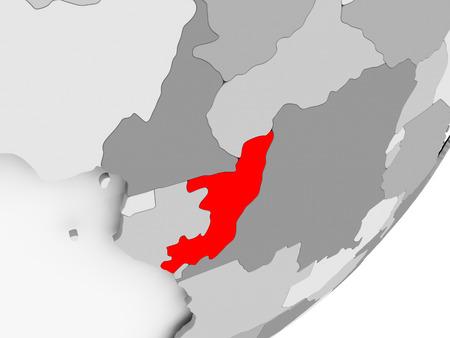 Illustration of Congo highlighted in red on grey globe. 3D illustration. Standard-Bild - 100062651