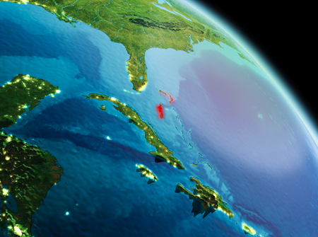 Satellite morning view of Bahamas highlighted in red on planet Earth. 3D illustration. 版權商用圖片