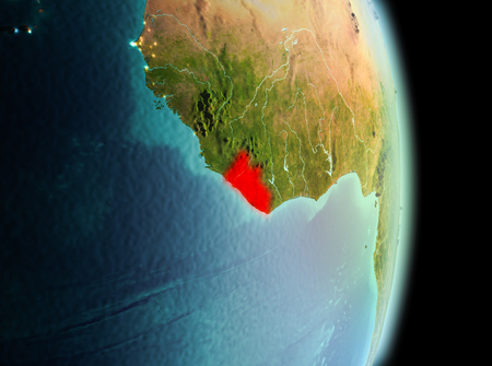Early morning view of Liberia highlighted in red on planet Earth. 3D illustration.
