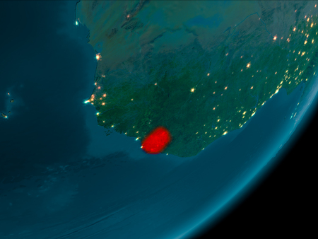 Night view of Sierra Leone highlighted in red on planet Earth with atmosphere. 3D illustration. Stock Photo