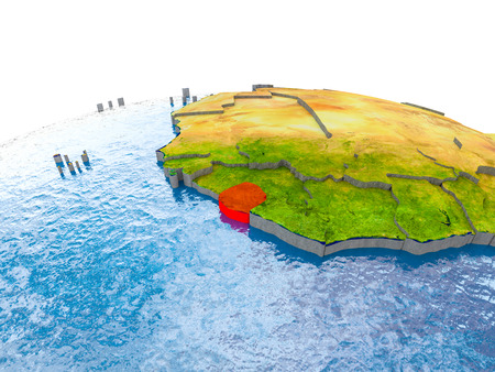Sierra Leone highlighted in red on globe with realistic land surface, visible country borders and water in place of oceans. 3D illustration.