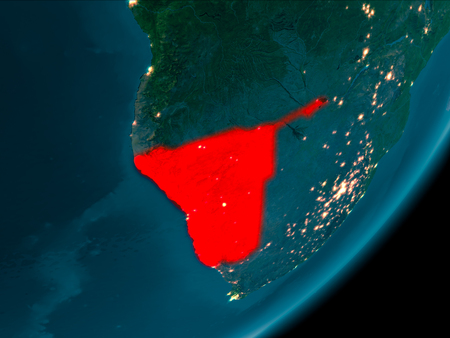 Night view of Namibia highlighted in red on planet Earth with atmosphere. 3D illustration.