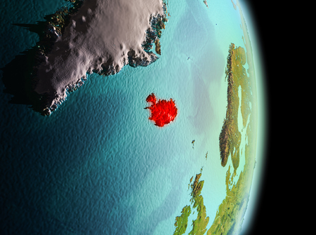 Early morning view of Iceland highlighted in red on planet Earth. 3D illustration. Stock Photo