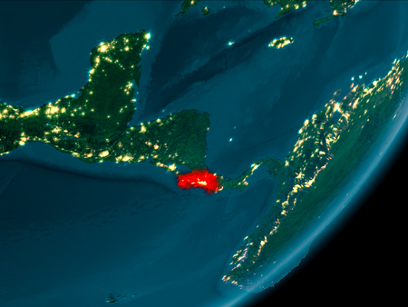Night view of Costa Rica highlighted in red on planet Earth with atmosphere. 3D illustration. Stock Photo