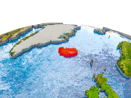 Iceland highlighted in red on globe with realistic land surface, visible country borders and water in place of oceans. 3D illustration. Stock Photo