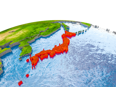 Japan highlighted in red on globe with realistic land surface, visible country borders and water in place of oceans. 3D illustration.