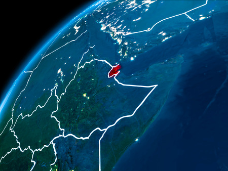 Djibouti highlighted in red from Earth's orbit at night with visible country borders. 3D illustration. Stock Photo