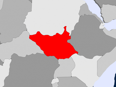 South Sudan in red on political map with transparent oceans. 3D illustration. 스톡 콘텐츠